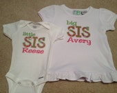 Appliqued BIG & LITTLE sister shirt set