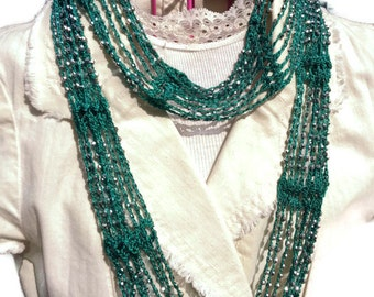 Free Knitting Patterns For Scarves With Beads : SLINKY Infinity Beaded Scarf Necklace Choker Crochet Pattern