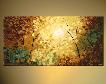 """Textured Modern Blooming Tree Painting Forest Original Abstract Landscape Acrylic by Osnat - MADE-TO-ORDER - 48""""x24"""""""