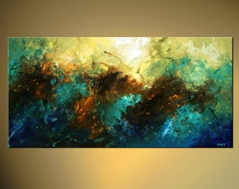 "Turquoise Teal Blue Abstract Painting Original Contemporary Acrylic Painting by Osnat - MADE-TO-ORDER - 48""x24"""