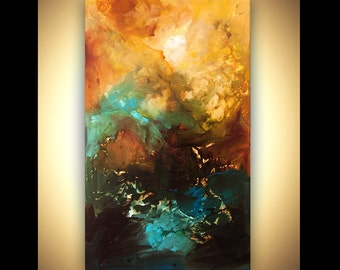 """ORIGINAL Painting 60"""" x 36"""" Abstract Acrylic Art Into the Light Painting by Osnat Ready to hang Enormous"""