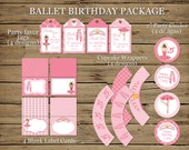 Ballet Birthday Party Pack: DIGITAL printable banner, posters, labels, wrappers