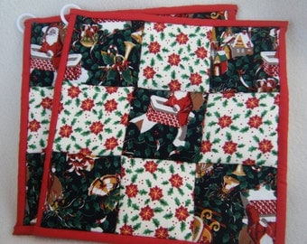 Christmas Green and Poinsettia Christmas Potholders - Set of 2 - HANDMADE BY ME