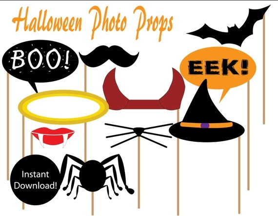 items similar to printable halloween photo props instant downloadby party like paula on etsy - Halloween Photography Props
