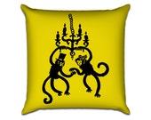 """Fancy Monkeys - Original Illustration Sofa Throw Pillow Envelope Cover for 18"""" inserts"""