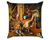 The Garden of Earthly Delights by Bosch (7) - Famous Art Sofa Throw Pillow