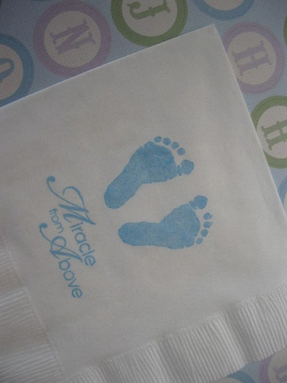 50 baby feet paper napkins baptism decorations baby girl for Baby feet decoration