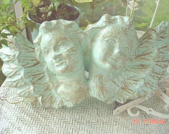 Cherubs Wall Hanging Painted French Blue Cottage Christmas Decoration