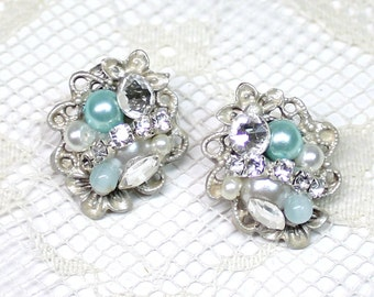 Aqua Blue Stud Earrings- Pearls and Rhinestones- Sea glass blue- Statement Studs- Bridal Earrings- Bridesmaid Earrings- Pearl Earrings