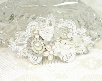 Bridal Hair Comb-Ivory Hair Accessories-Wedding Hairpiece- Pearl Bridal Comb- Bridal hair accessories-Shimmer No Sparkle Comb-Off White comb