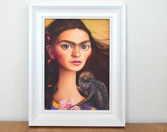 5x7 Frida Kahlo Print, Frida Kahlo Art