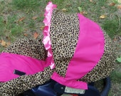Cheetah or Leopard baby car seat cover infant seat cover slip cover Graco Hot pink