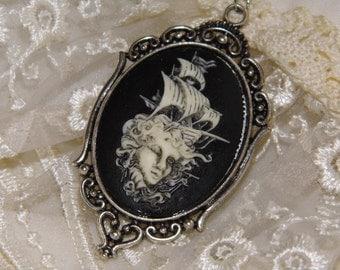 SHIP Nautical Silver Beach Mermaid Goth Steampunk Rockabilly Necklace Pendant Cameo