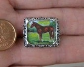 Miniature Secretariat Painting // THOROUGHBRED RACEHORSE ART // Tiny Painting // Dollhouse Miniature // Equine Art // Collectible
