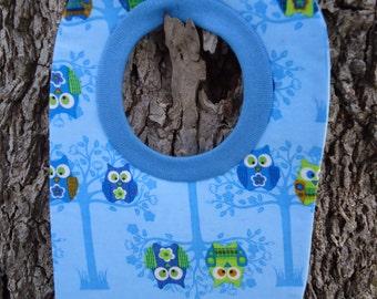 Owl Baby Boy Bib Blue Pull Over