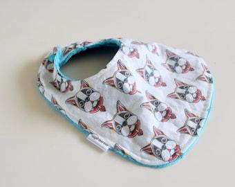 Boston Terrier Bib, Baby Bib, Toddler Bib, Bandana Bib, Minky Bib, Baby Bib, Boston Terrier, Augie and Lola Baby Bib