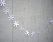 snowflake garland, winter garland, paper garland, winter decoration, winter wedding garland, wedding decoration, snowflake wedding - JDooreCreations