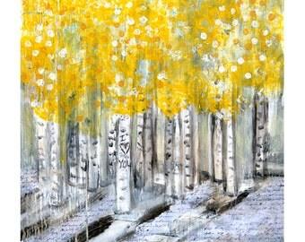 Aspen Words - Mixed Media Art Print - Yellow, Gray, Black, White