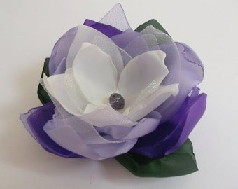 Purple, Cream fabric flower in handmade, Bridesmaids accessory, Hair clip, Shoe clip, Brooch, Bridal dress accessory, Flower girls, Weddings