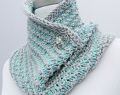 On Sale 25% off: Hand knit infinity scarf / cowl in aqua gray