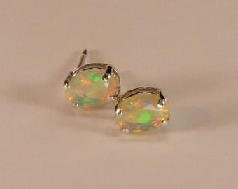 Opal (Ethiopian 'Yita Ridge' Opals), 8mm x 6mm x 0.52 Carat, Oval Cut, Sterling Silver Stud Earrings