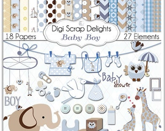 Baby Boy Blue Digital Paper Scrapbooking in Patterned  Blue, Brown, Tan and White, Giraffes, Owl, Elephants