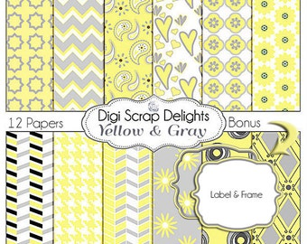 Yellow and Gray Digital Paper Pack, Quatrefoil, Houndstooth, Stripes, Chevron, Trellis, Hearts, Paisley Bonus Label Frame