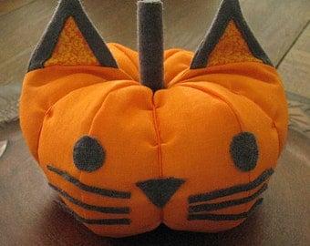 Bright Orange Fabric Cat Pumpkin Decoration