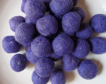 felted wool beads of royal purple--lot of 33