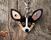 Keychain ID Key Chain Tag Rat Terrier Breed Dog Pet Lover Copper Aluminum Custom Rivets Stamped