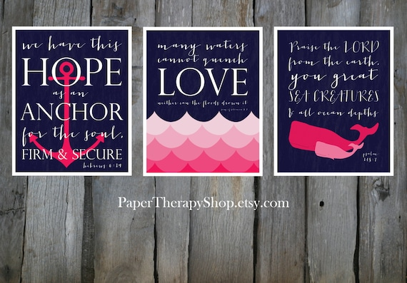 3 Nautical Prints based on Bible verses, Water, WHALE, and ANCHOR 8x10 or 11x14  in Navy and Pink