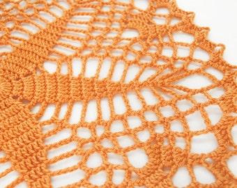 "Orange Starshine Doily - Tangerine, 8"", Egyptian Cotton - Crochet Lace Star Flower Housewarming Fall Autumn Home Decor Gift Geometric"