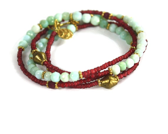 Indian Summer Collection. Converts to Anklet or Necklace. Beaded Necklace. Peruvian Opal, Ruby, and Gold Vermeil Charms. Free People. wh