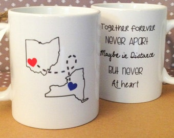STATE to STATE Long Distance Mug - 2 States - Color and Quote