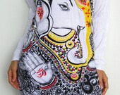 Ganesh ganesha Women mini dress singlet tunic long sleeve white shirt om hindou sanskrit india god meditation zen peace ganesh hippie art M