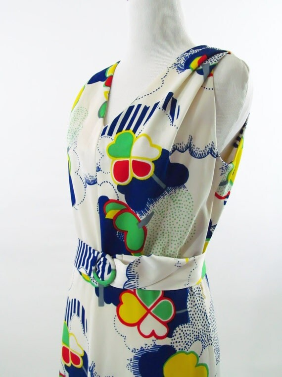 ON RESERVE    1960s Vintage Cloud Burst Boho Maxi Dress with Belt Medium//Small //Super Mario World