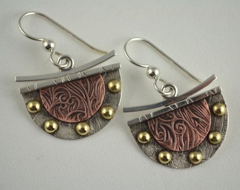 Dangle Metalsmith Earrings - Mixed Metal Jewelry - Textured Copper Designs
