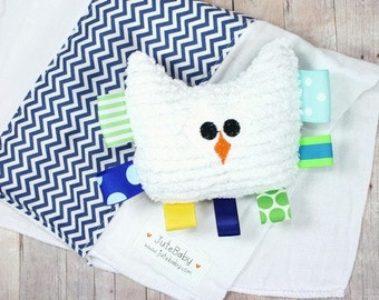 Blue Chevron Baby Teether and Burp Cloth Gift Set for Baby Boy by JuteBaby
