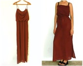 25% OFF - 70's SEMI-SHEER Maxi - Dress / Brick Red / Long / Elegant / Sexy / Evening / Resort / Size Medium
