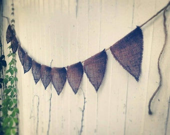 Burlap Flag Banner w/ Jute Twine-4 Feet-3 Colors- Wedding/Party Decor- Folk/Country/Shabby Chic-Party Bunting-Home Decor-Farmhouse-Cabin