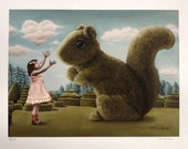 Fine Art Print: Romancing the Squirrel. Pop Surrealism Animal Art