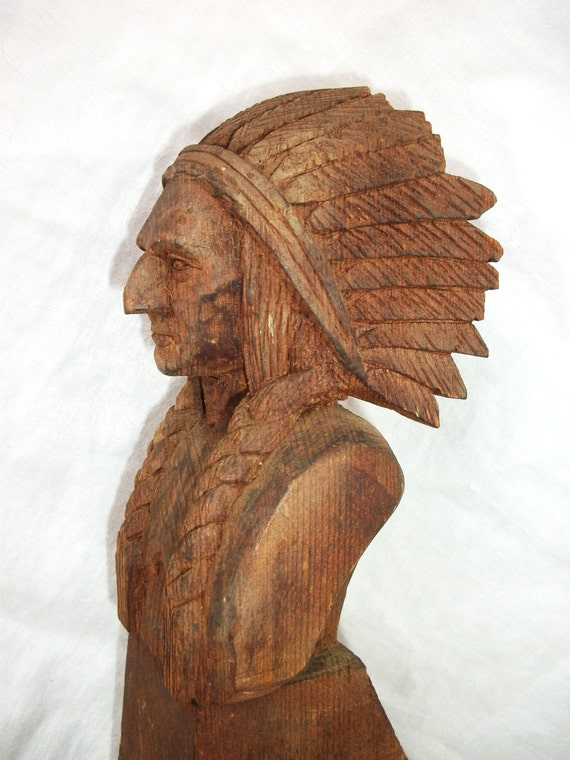 Vintage hand carved wood native american by