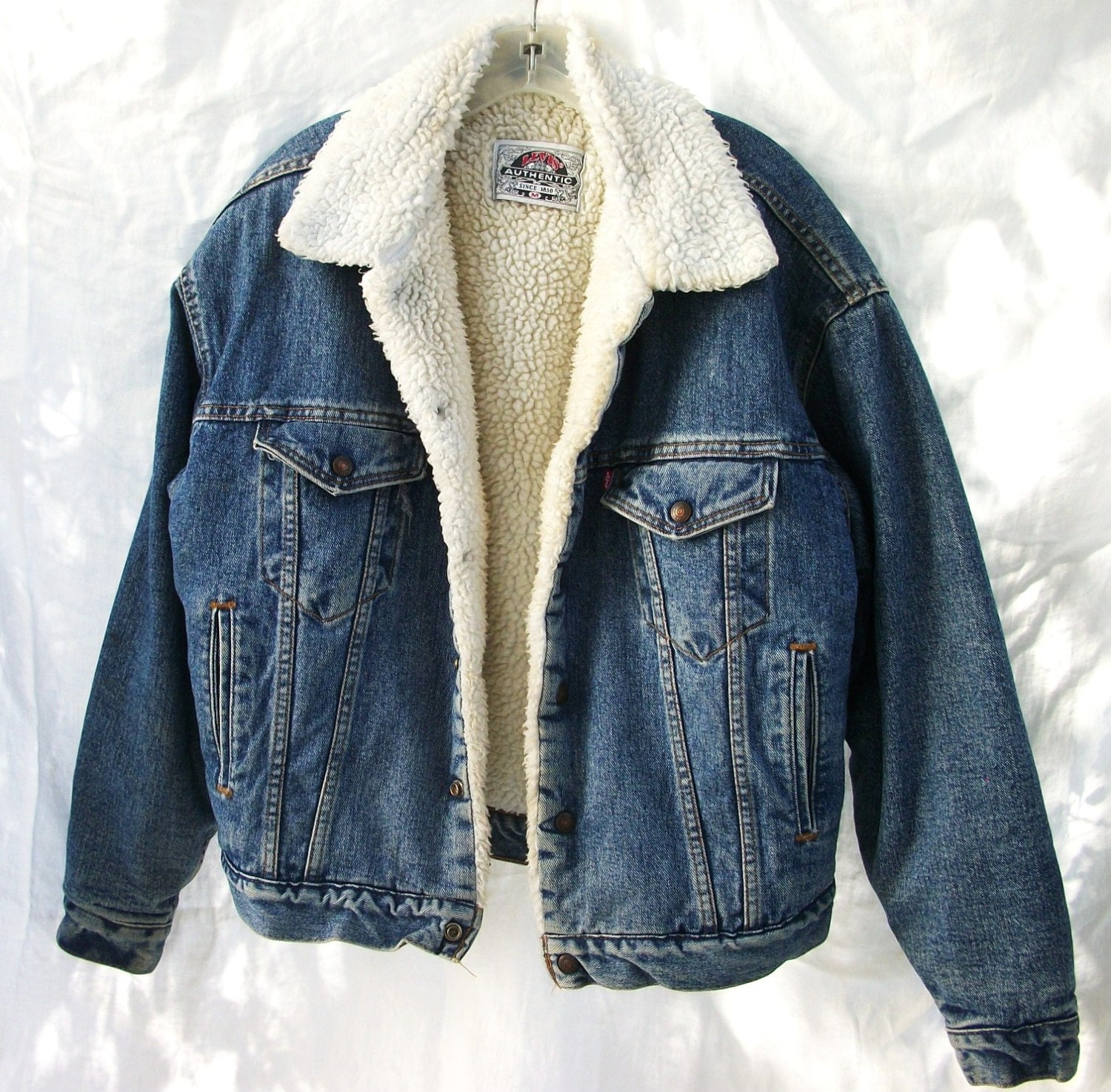 vintage levis sherpa fur lined jacket worn levis washed. Black Bedroom Furniture Sets. Home Design Ideas