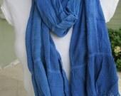 Solid denim blue Crinkle Long scarf man fashioN-woman-MAN SCARVES  by scarves2012 Turkey