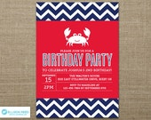 Crab Birthday Invitation - Nautical invitation - Beach Party Inviation - Chevron invitation - Crab Printable - First Birthday invitation
