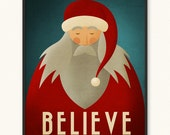 16x20 • Santa Claus Believe • Minimalist Portrait Christmas Poster • Choose Style • Art Print