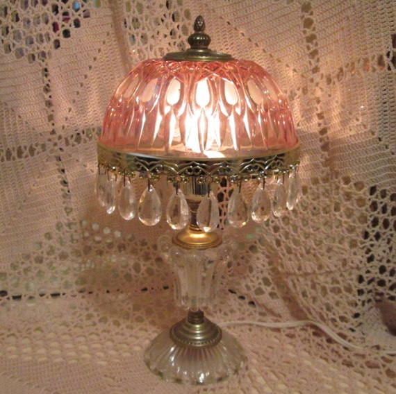 Vintage Pink Cut Glass And Crystal Boudoir Lamp By
