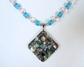 Abalone Shell Pendant Necklace Unique Jewelry Blue Necklace Beautiful Abalone Jewelry Christmas Gift for Mom or March Birthday Gifts for Her