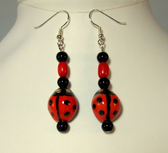 Red Ladybug Earrings Valentines Day Gifts Cute Earrings Handmade Earrings Gifts for Her Birthday Present Red Earrings Gift for Girlfriend