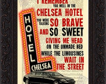 Leonard Cohen Chelsea Hotel  song lyric Print on upcycled Vintage French English Dictionary Page